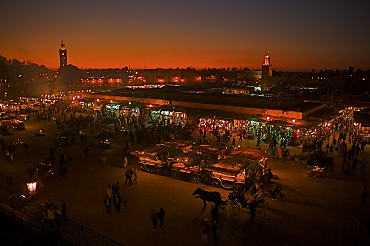 Marrakech Market Place by Night